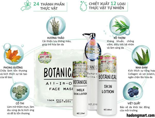 Thành phần chính trong bộ sản phẩm dưỡng da Botanical